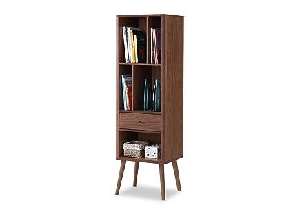 Baxton Furniture Studios Ellingham Mid Century Retro Modern Cabinet  Bookcase Organizer