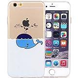 JIAXIUFEN TPU Gel Silicone Protettivo Skin Custodia Protettiva Shell Case Cover Per Apple iPhone 6 6S - Divertente Capriccioso Design Dolphin Spray