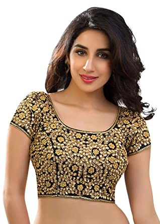 c814254322d Amazon.com: Bridal Swarovski Embroidered Silk Black Saree Blouse Sari Choli  - KP-108: Clothing