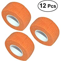 ROSENICE 12 roll Medical Cohesive Bandages Self Adherent Wrap Tape Stretch Athletic Strong Elastic First Aid Tape (Orange)