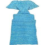 BG® Cute Blue Mermaid Tail Crochet Blanket All Seasons Soft Warm Sleeping Bags