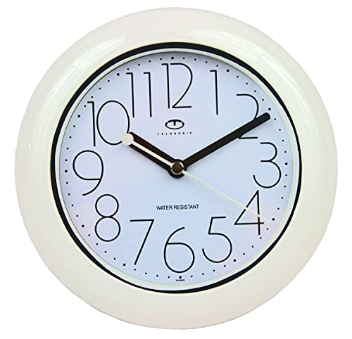 Telesonic Water Resistant Wall Clock with Quiet Sweep Movement – White