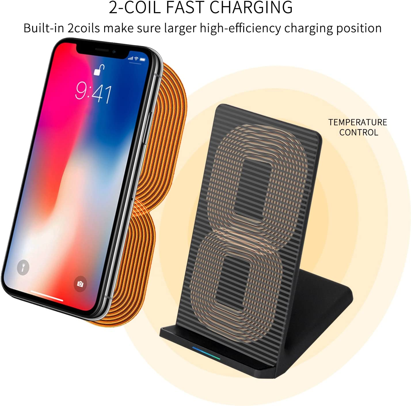 iPhone X iPhone 8//8 Plus Cooling Fan, 2 Coils Charging Stand Pad Station FindUWill Fast Wireless Charger for Samsung Galaxy Note 8 S8 Plus S7 Edge