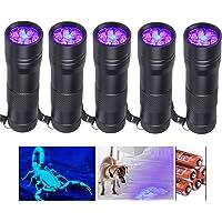 Beinhome Linterna UV de luz negra [5 unidades], lámpara UV, detector de orina para mascotas, manchas de orina seca de…