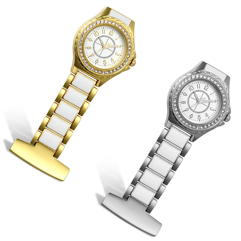 Lancardo Nurse Rhinestone Crystal Case Stainless Steel Fob Pocket Watch with Japanese Movement(2PCS)