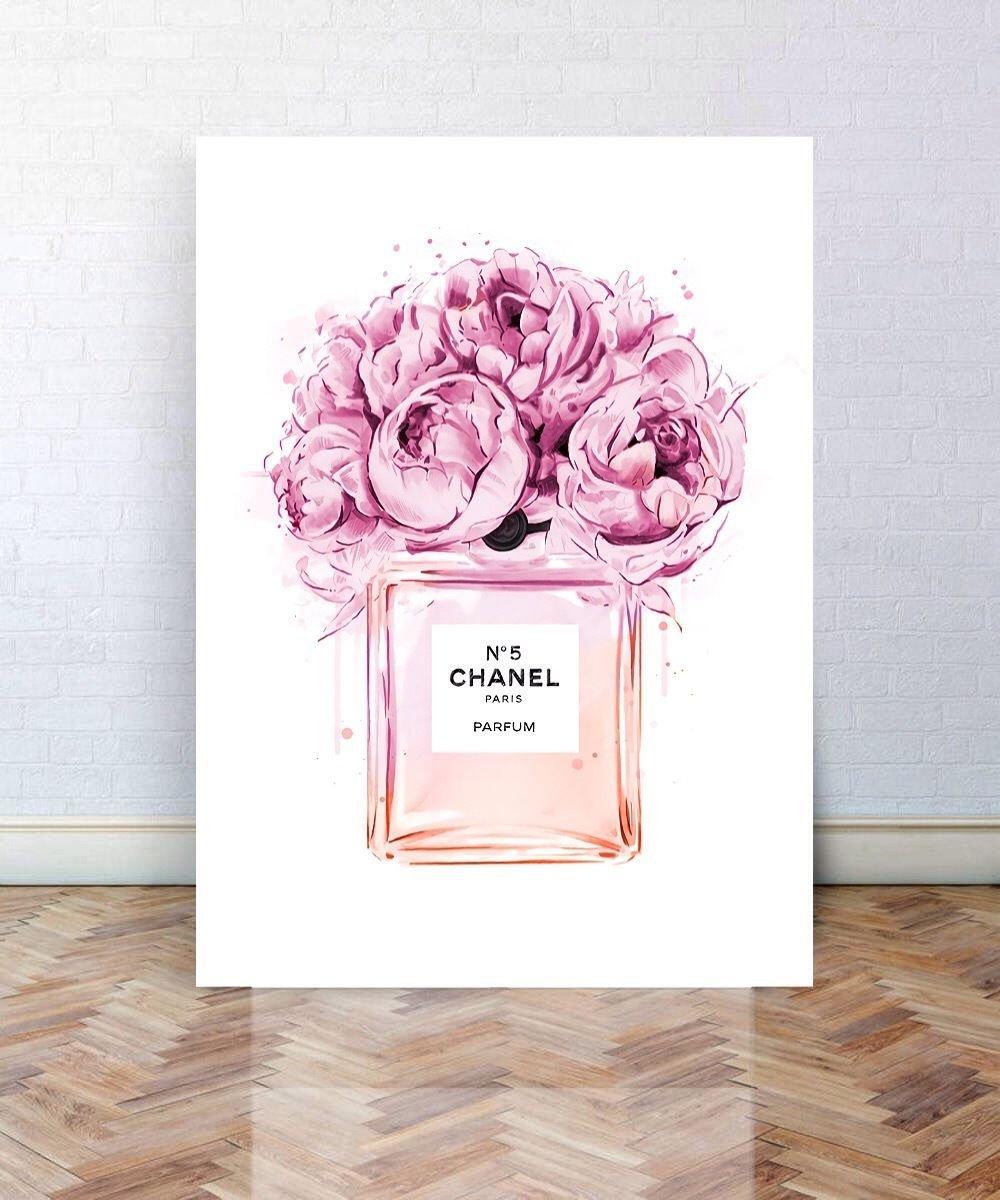 Chanel no 5 perfume art chanel canvas art a3 art poster art wall art wall decor a2 canvas art a1 canvas art floral art print peony