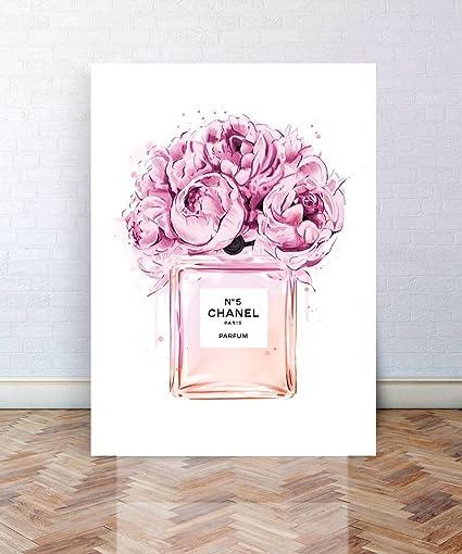 9d851ef63b736 Chanel No.5 Perfume Art / Chanel Canvas Art / A3 Art / Poster Art / Wall  Art / Wall Decor / A2 Canvas Art / A1 Canvas Art / Floral Art Print / Peony  ...