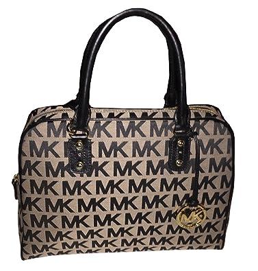 b865f88e9aeaf8 Michael Kors Large Satchel MK Signature PVC Handbag BEIGE/BLACK/BLACK:  Handbags: Amazon.com