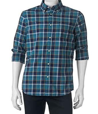 f3ef95f514498 Sonoma Mens Modern Fit Poplin Casual Shirt Western Green Check (LT (Large  Tall)