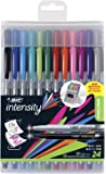 BIC Intensity Fineliner Medium Fine Point Pens, 0.4-1.0mm – Set of 24 Markers, Reusable Pack – Fashion Colours, No Bleed…