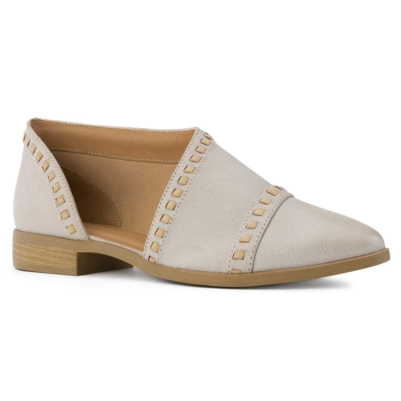 Stone Pu RF ROOM OF FASHION Women's Almond Toe Open Shank Slip On Loafers - Western Inspired Stacked Heel shoes - Vegan Low Heel Flats