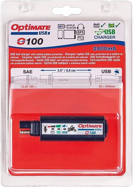Tecmate Optimate Usb O 100 Kombination 2400ma Usb Ladegerät Und 3 Led Batteriemonitor Mit Fahrzeugbatterieschutz Auto