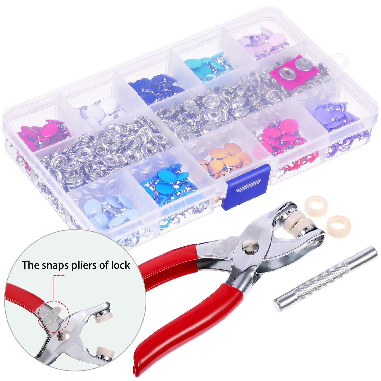 Queta 200Pcs Boutons Pression Set de Creux Solide Boutons Pression Boucle en M/étal Bague Bouton Boutons Pression /à Coudre Craft 9,5 mm
