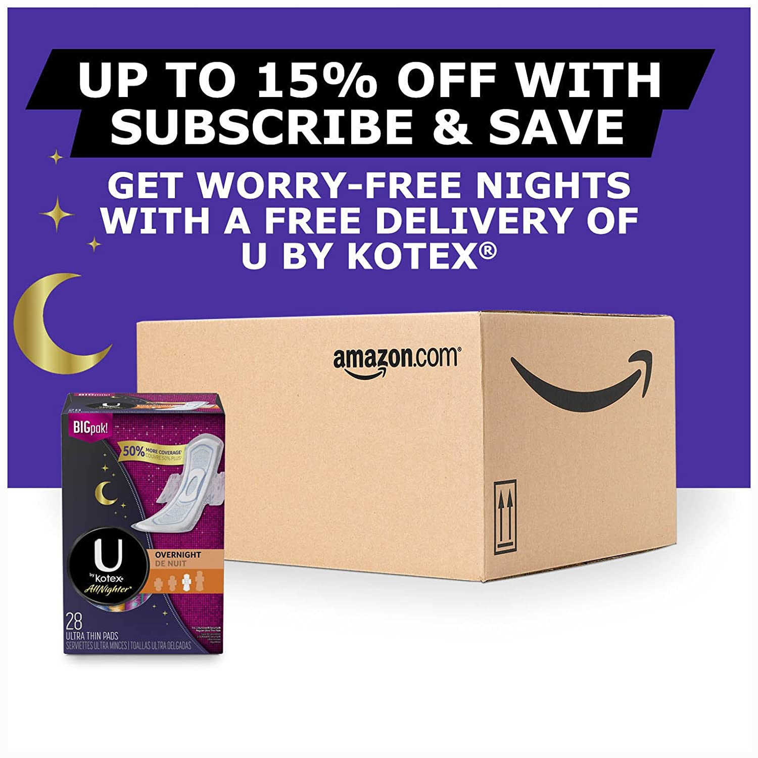 Amazon.com: U By Kotex Allnighter Ultra Thin Overnight Pads with Wings, 28 Count: Health & Personal Care