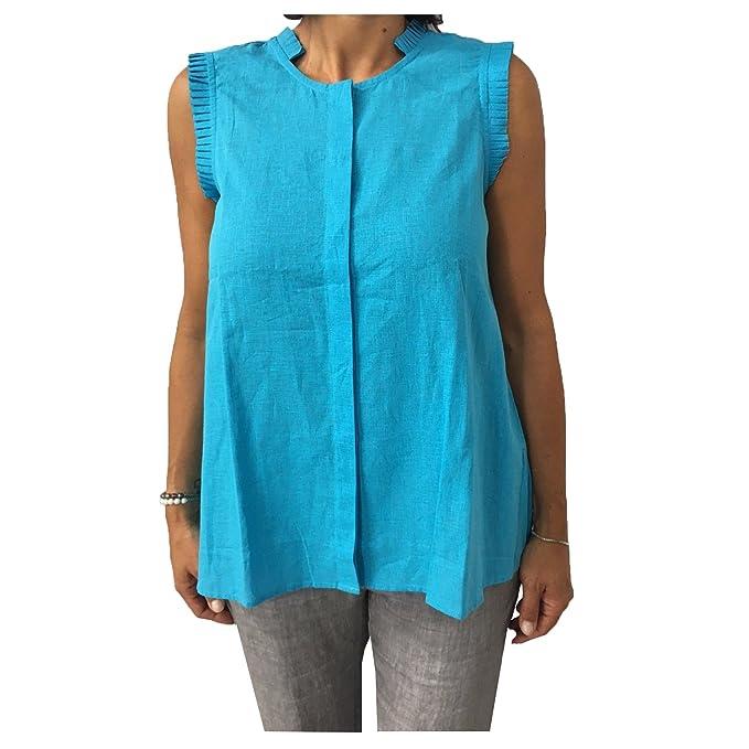 buy popular 55194 b4c98 AND Camicia Donna Senza Manica 52% Lino 48% Cotone: Amazon ...