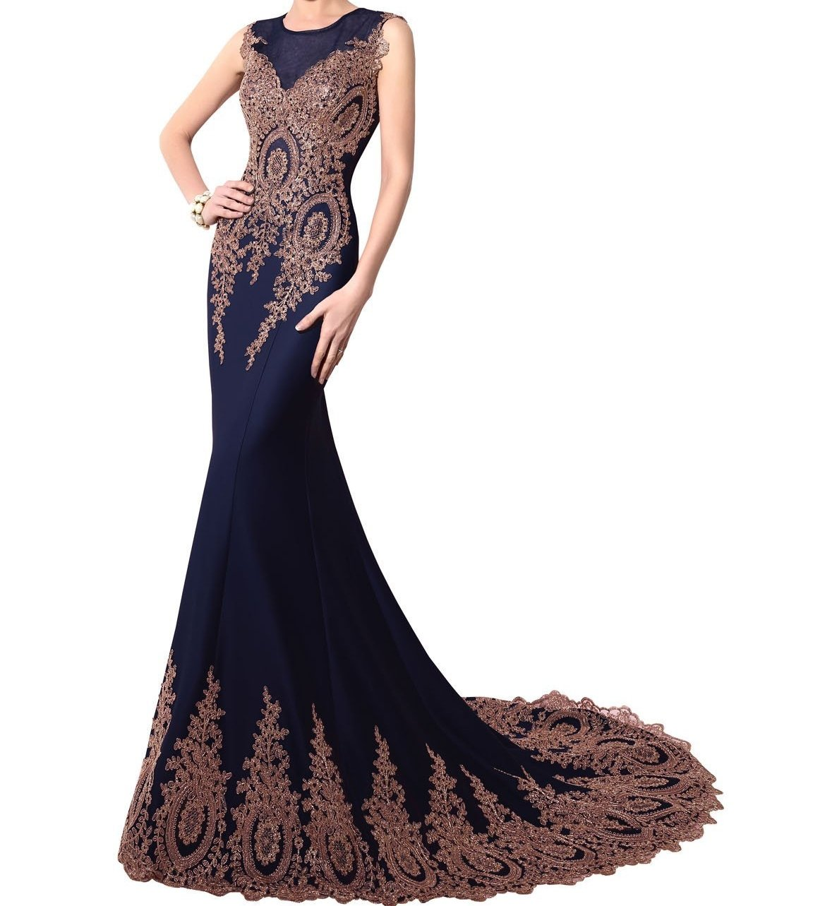 Kings Love Womens Mermaid Evening Dress Velvet Lace Embroidery Sleeveless Prom Gowns