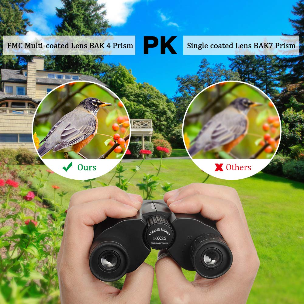 Compact Binoculars for Kids and Adults,Maluokasa 10x25 Night Vision Waterproof Lightweight Mini Telescope Portable for Bird Watching, Hiking, Traveling,Concerts and Sports Events
