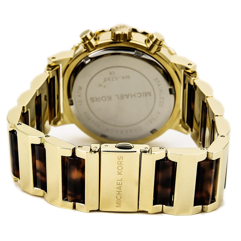 Michael Kors Womens MK5790 Chronograph Tortoise Gold Tone Watch