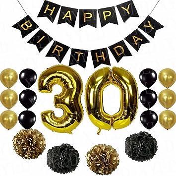 Party Deko Set Zum 30 Geburtstag Papiergirlanden Papierblumen