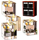 Le Sens Amazing Home Crystal Candle Holders Set of 4,Elegant Heavy Glass Cuboid Tealight Holders,Clear Square Glass Cube…