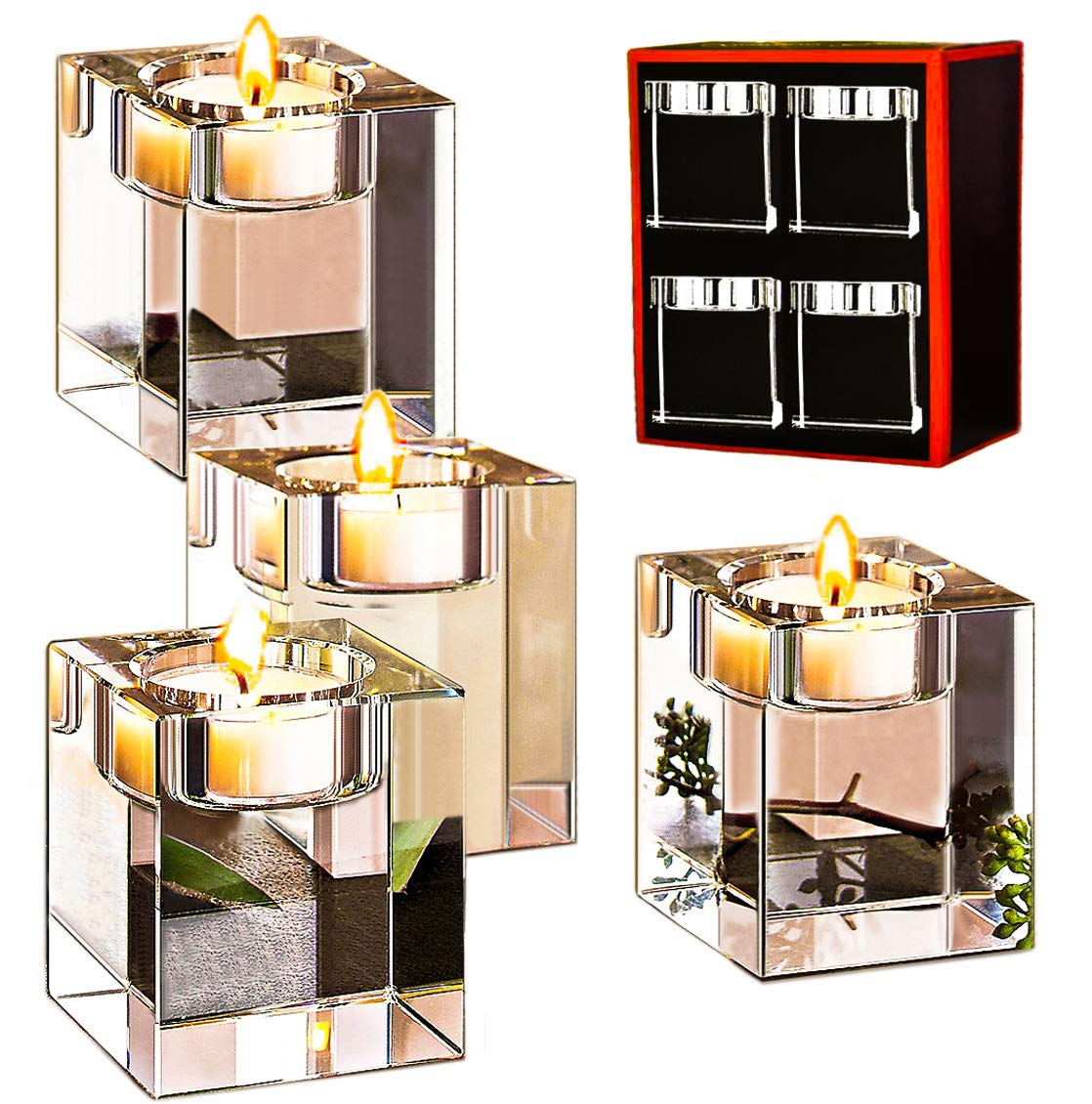 Le Sens Amazing Home Crystal Candle Holders Set of 4,Elegant Heavy Glass Cuboid Tealight Holders,Clear Square Glass Cube Decoration for Ceremony Wedding Centerpiece and Home Decor