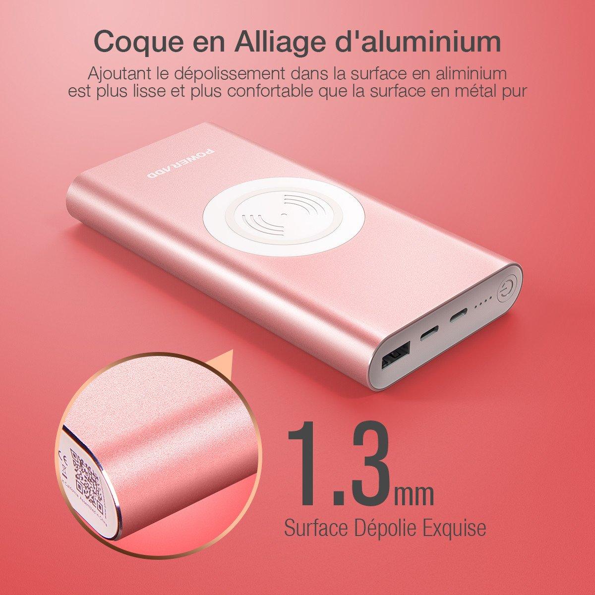 POWERADD 10000mAh Batterie de Secours sans Fil Chargeur Portable à Induction avec 2 Sortie 3.1A Charge Rapide - Rouge Doré