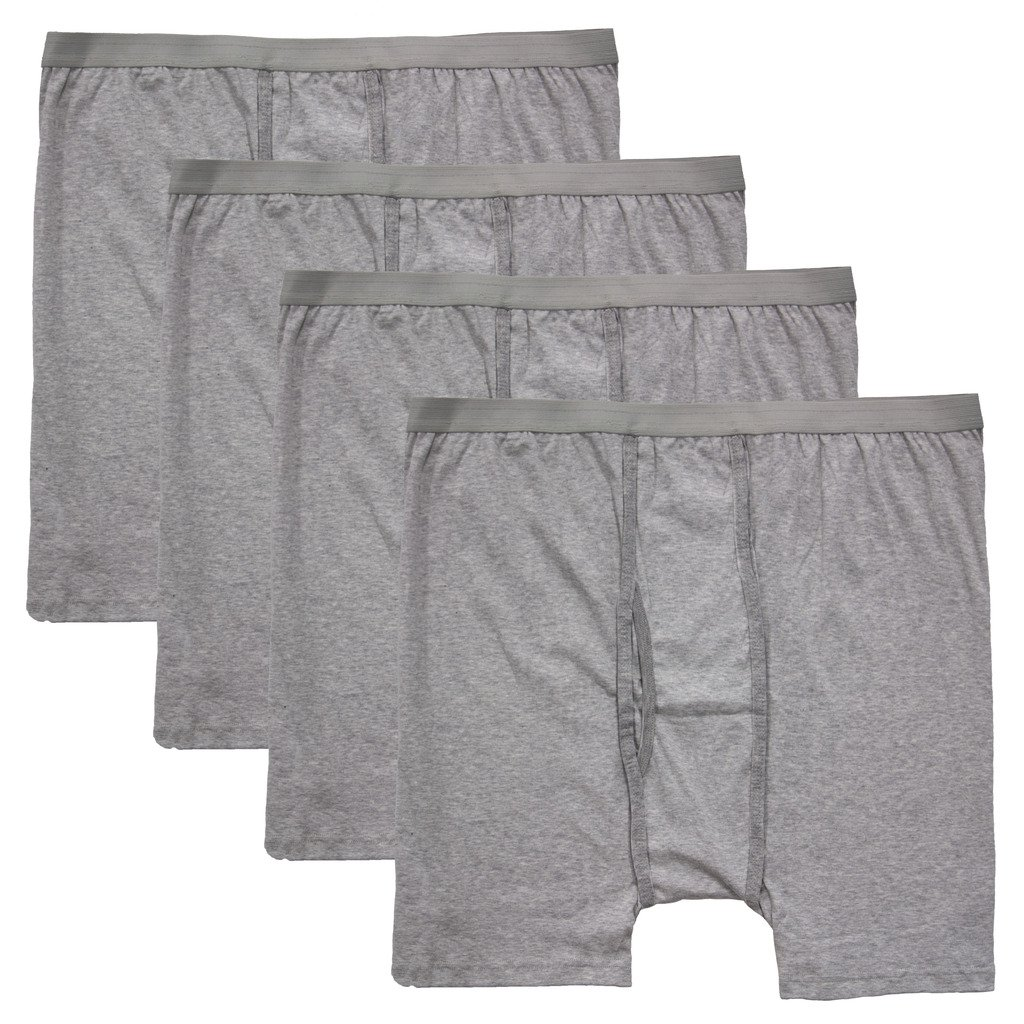 Big Men's Players Cotton BOXER BRIEFS Underwear 4-Pack (Big 4X, Gray 4-Pack)