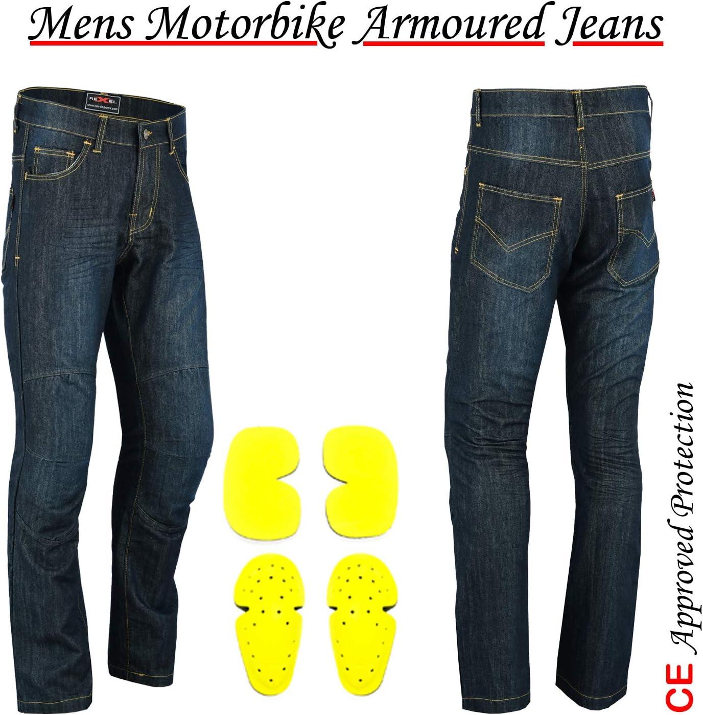 VASTER M/änner Motorrad Jeans Motorrad Schutzhose verst/ärkte Jeans Hose gef/üttert Schutz CE zugelassen HIP /& KNEE abnehmbare gepanzerte Modern-Fit blue Denim 30 L/änge W40 - L30