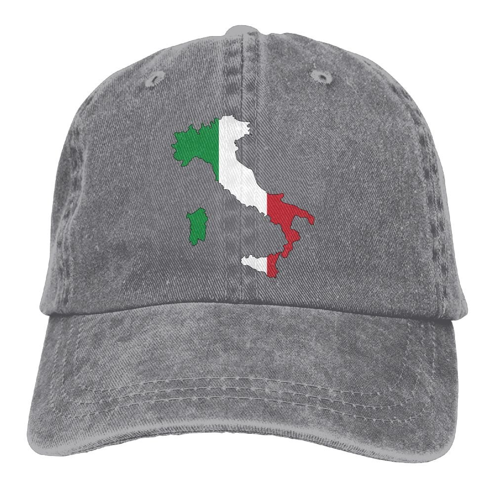 Italy Flag Map Trend Printing Cowboy Hat Fashion Baseball Cap For Men and Women Black