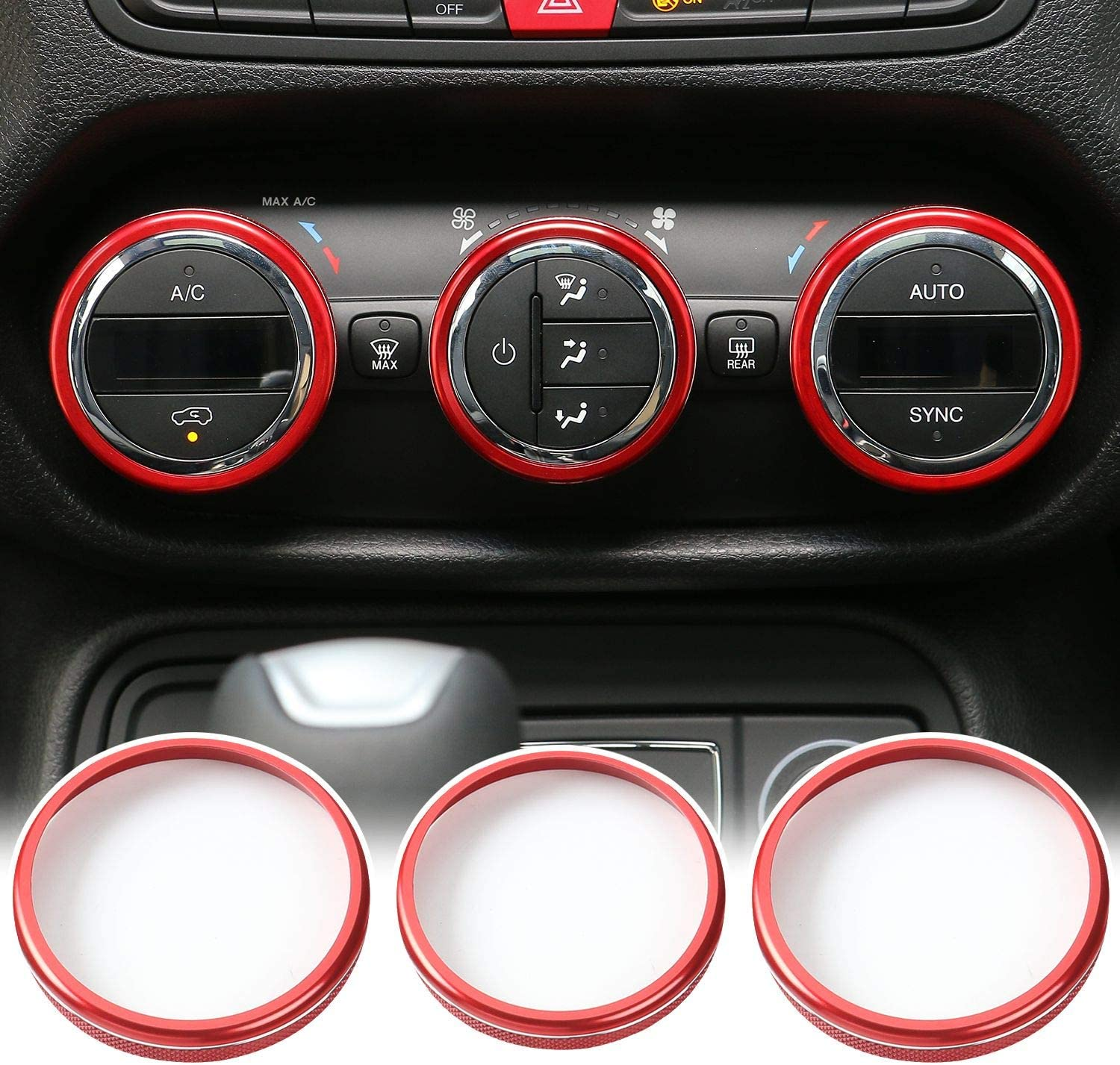 Red JeCar Air Conditioner Trim Cover Aluminum Alloy Air Conditioner Switch Knob Cover for 2015-2017 Jeep Renegade