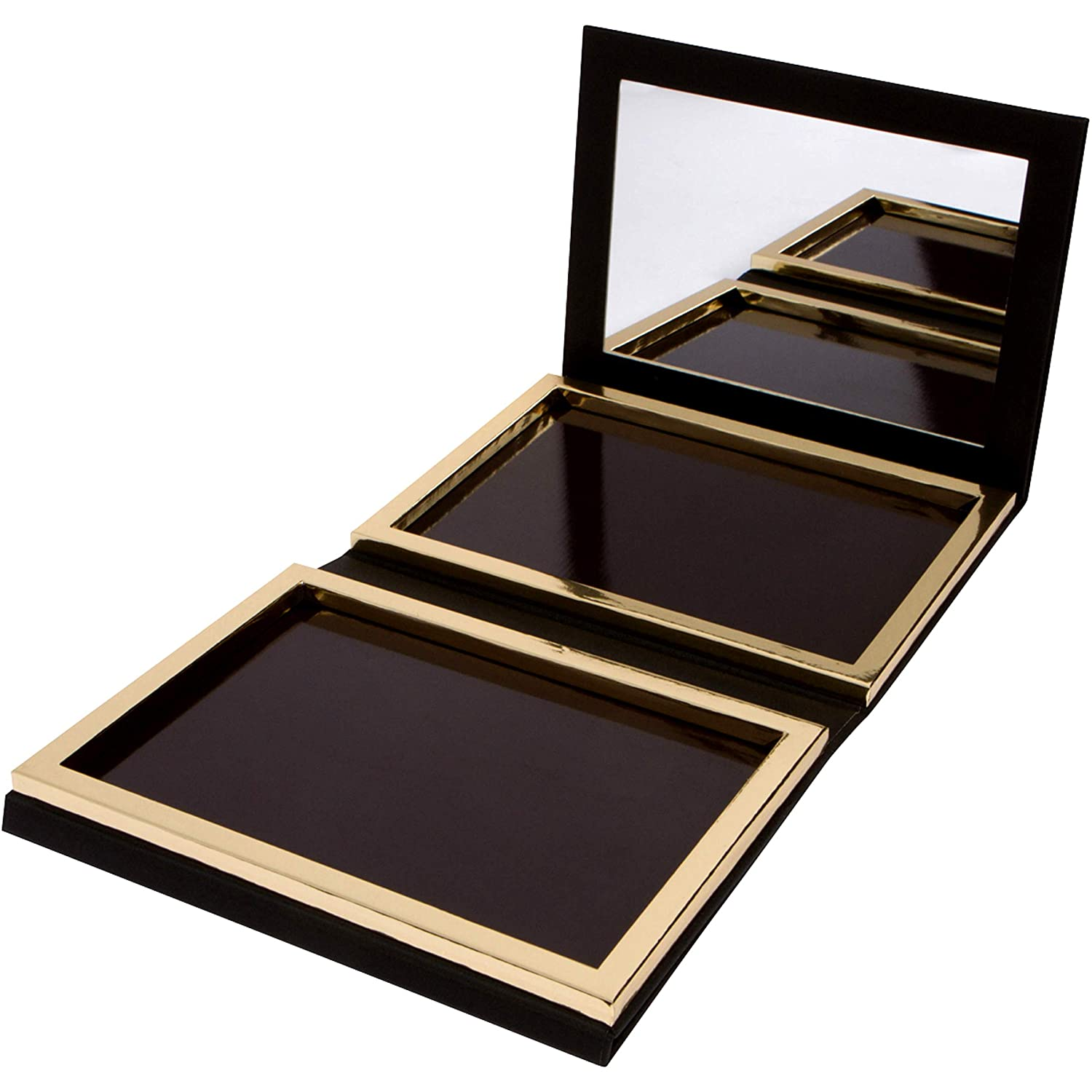Matte Black Double Sided Empty Magnetic Palette with Mirror; Holds 70 Standard Sized Eyeshadows