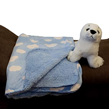 Blue Space Star Unisex Baby Plush Receiving Blankets 30x40in for Boys and Girls