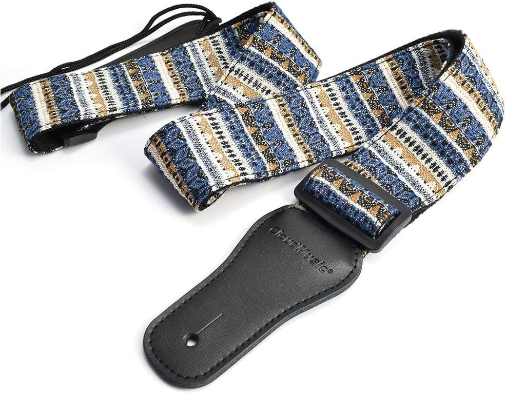 CLOUDMUSIC Guitar Strap Fabric Series Cotton Guitar Strap For Acoustic Guitar Electric Bass With 4pcs Guitar Picks Free(Geometrical Pattern In Blue