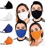 Mascarilla Cubrebocas para protección con filtros integrados: lavable, reutilizable y de tamaño ajustable (paq.4pz)