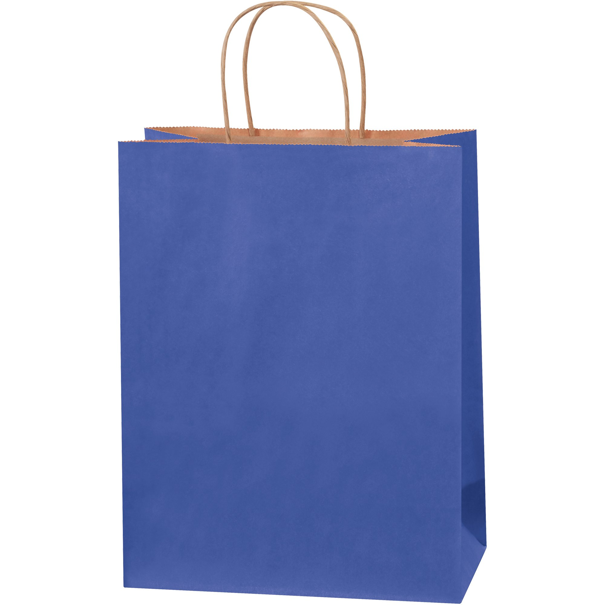 Tinted Shopping Bags, 10'' x 5'' x 13'', Parade Blue, 250/Case