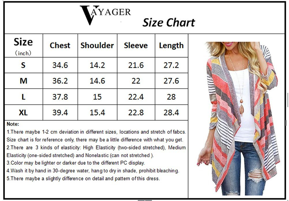 3/4 Long Sleeve Plus Size Sweater Cardigans for Womans Coverup Bikini Beach Wear Red Large by VAYAGER (Image #4)
