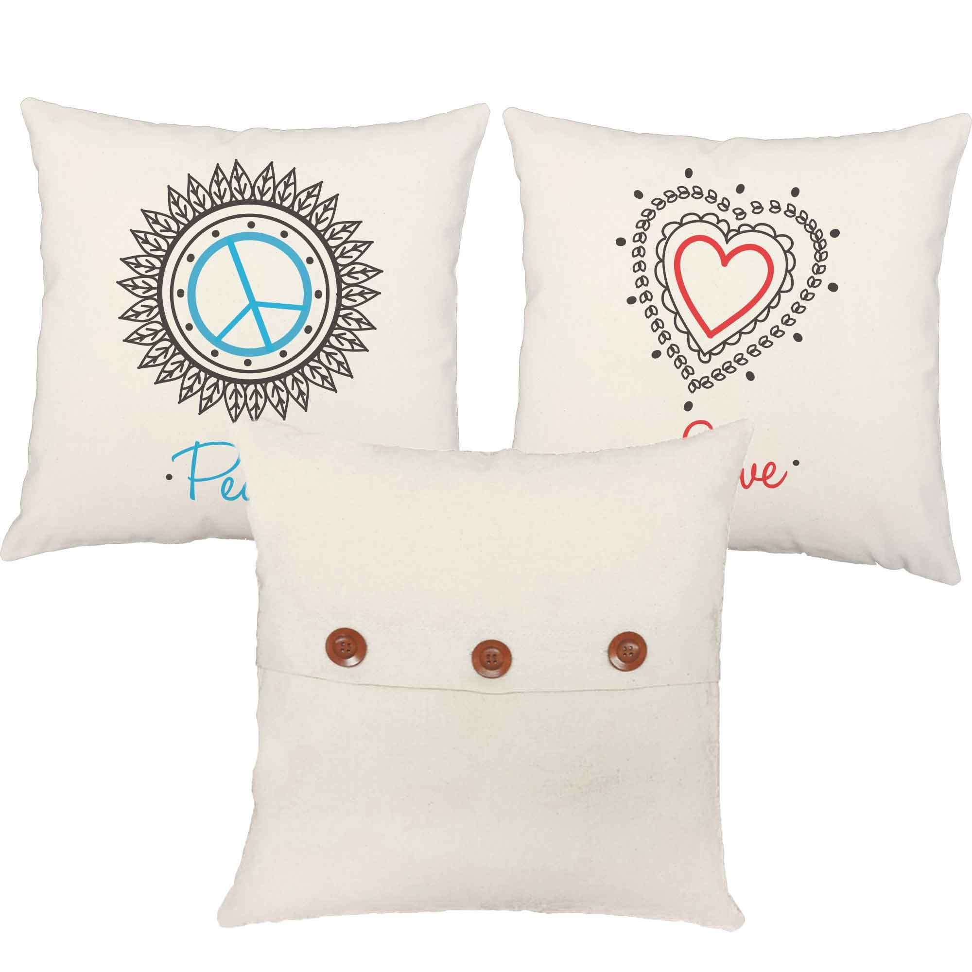 Set of 3 RoomCraft Peace Love Namaste Throw Pillow Covers 20x20 Inch Square White Outdoor Yoga Shams by RoomCraft (Image #3)