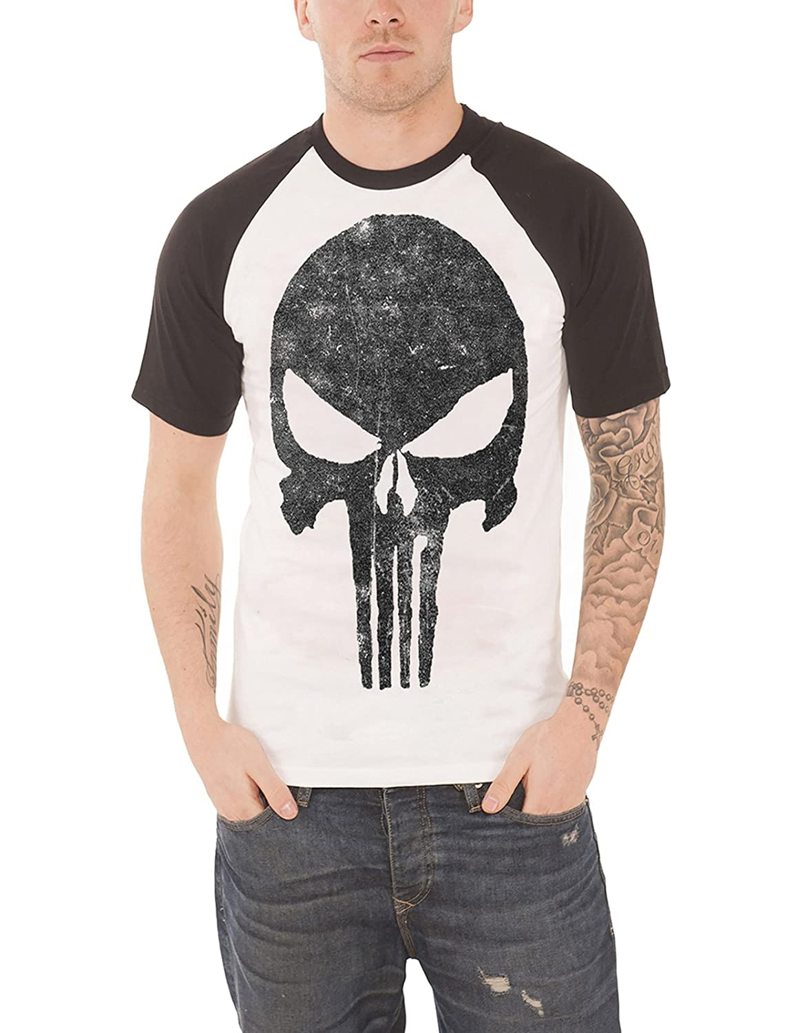 Punisher Jagged Skull Short Sleeve Raglan Black