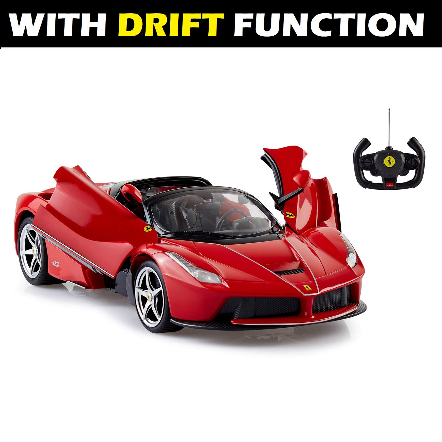 ToysCentral Ferrari Remote Controlled Car with Drift Function, Officially  Licensed LaFerrari Aperta 114 Scale Rastar Model with Opening Scissor
