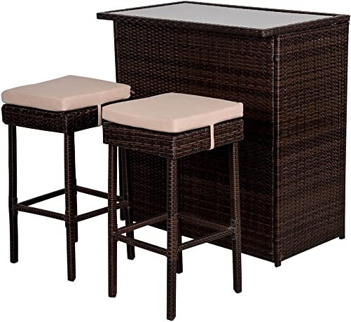 Sundale Outdoor Deluxe 3PC Rattan Wicker Bar Set with Cushions, Bar and 2 Stools Set