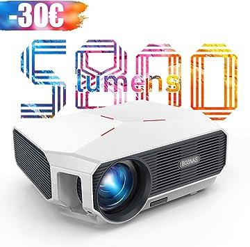 Opinión sobre 【Actualizado 2020】 Proyector WiFi, BOSNAS Mini Proyector Portátil 5800 Lúmenes Nativo 720P, Soporta Full HD 1080P, Pantalla de 200