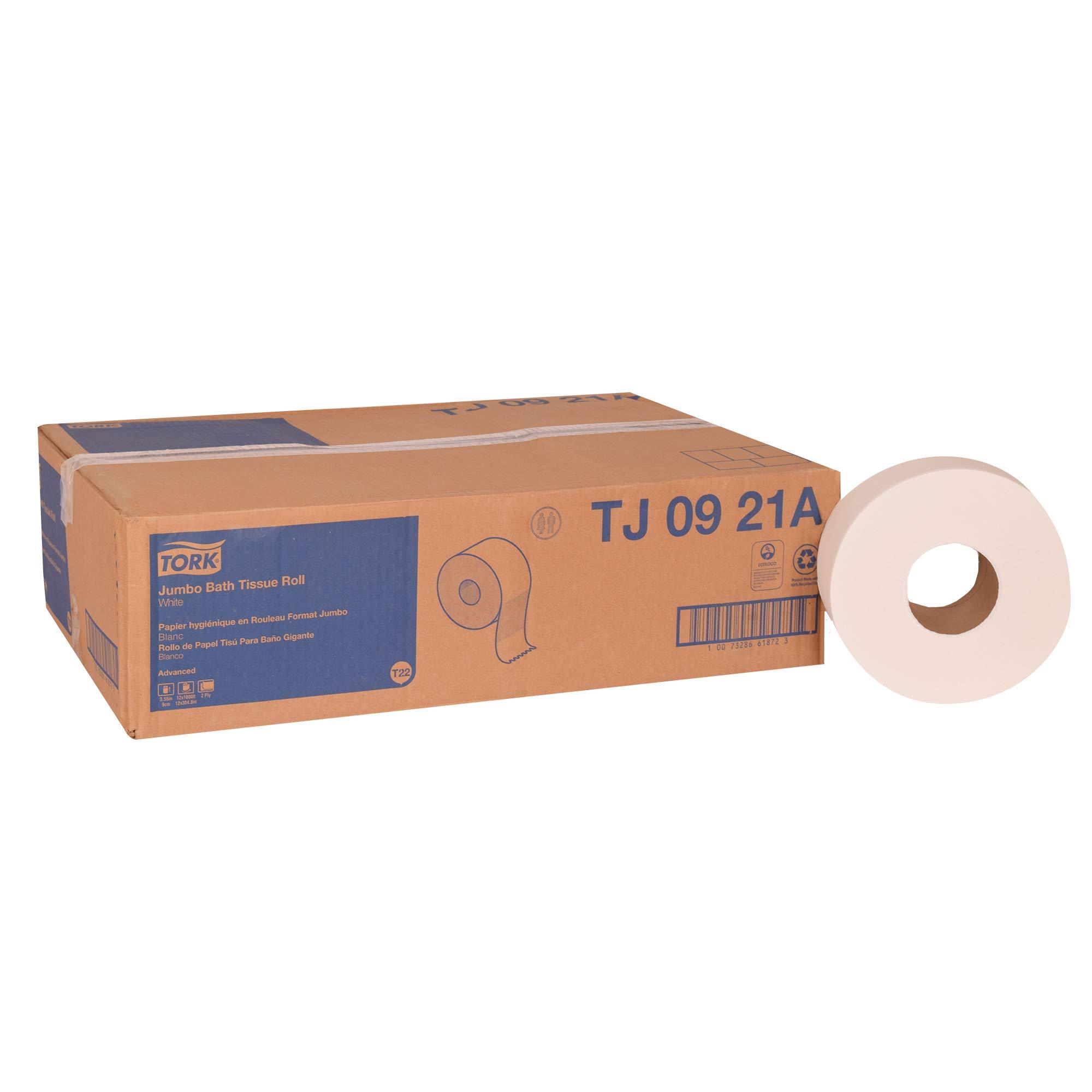 Tork Advanced TJ0921A Jumbo Bath Tissue Roll, 2-Ply, 8.8'' Dia, 3.55'' Width x 1,000' Length, White (Case of 12 Rolls, 1,000 per Roll, 12,000 Feet)