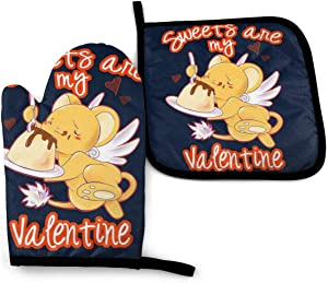667 Cardcaptor Sakura Kero Sweets are My Valentine -Oven Mitts and Pot Holders Heat Resistant Kitchen Bake Gloves Cooking Gloves