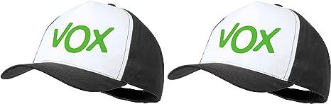 MERCHANDMANIA Pack 2 Gorras Negras Logo Partido VOX Cap: Amazon.es ...