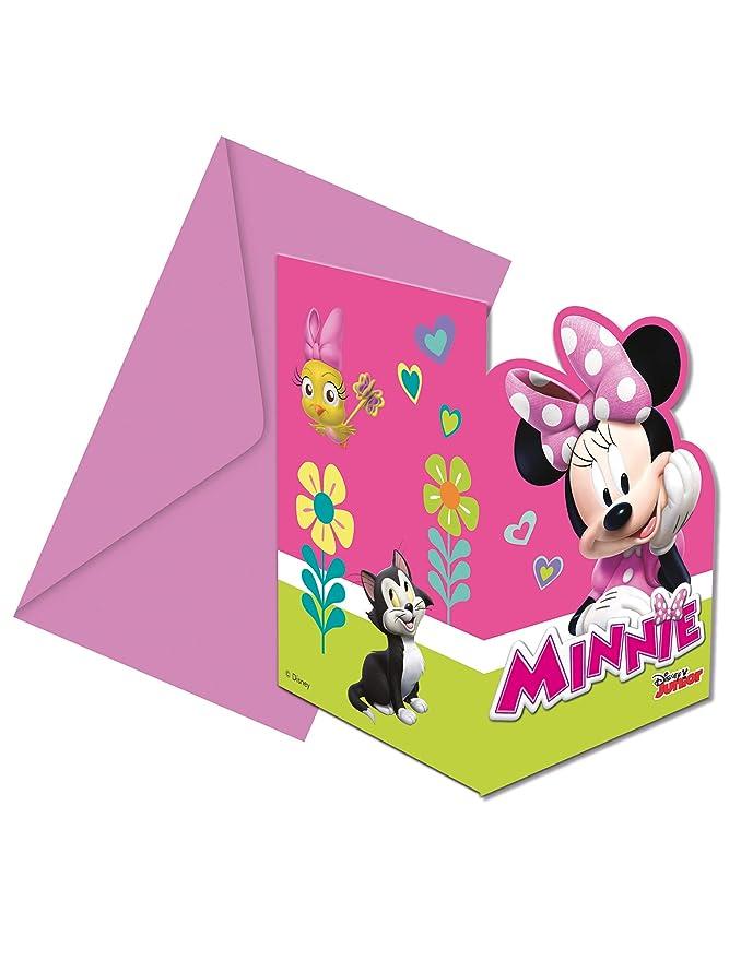 COOLMP - 6 Invitaciones + Sobres de Minnie Happy - Talla ...