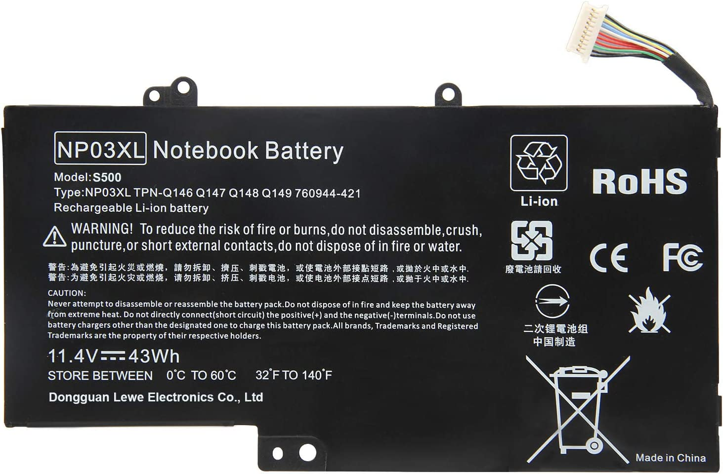 ARyee 43Wh 11.4V NP03XL Battery Laptop Battery Replacement for HP Pavilion X360 13-A010DX 13-b116t HP Envy 15-U010DX 15-U337CL 15-U050CA; fit for 760944-421 761230-005 HSTNN-LB6L TPN-Q146 TPN-Q147 TPN