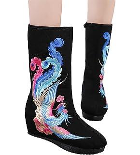 Womens Phoenix Embroidery Mid Calf Wedge Heel Boots