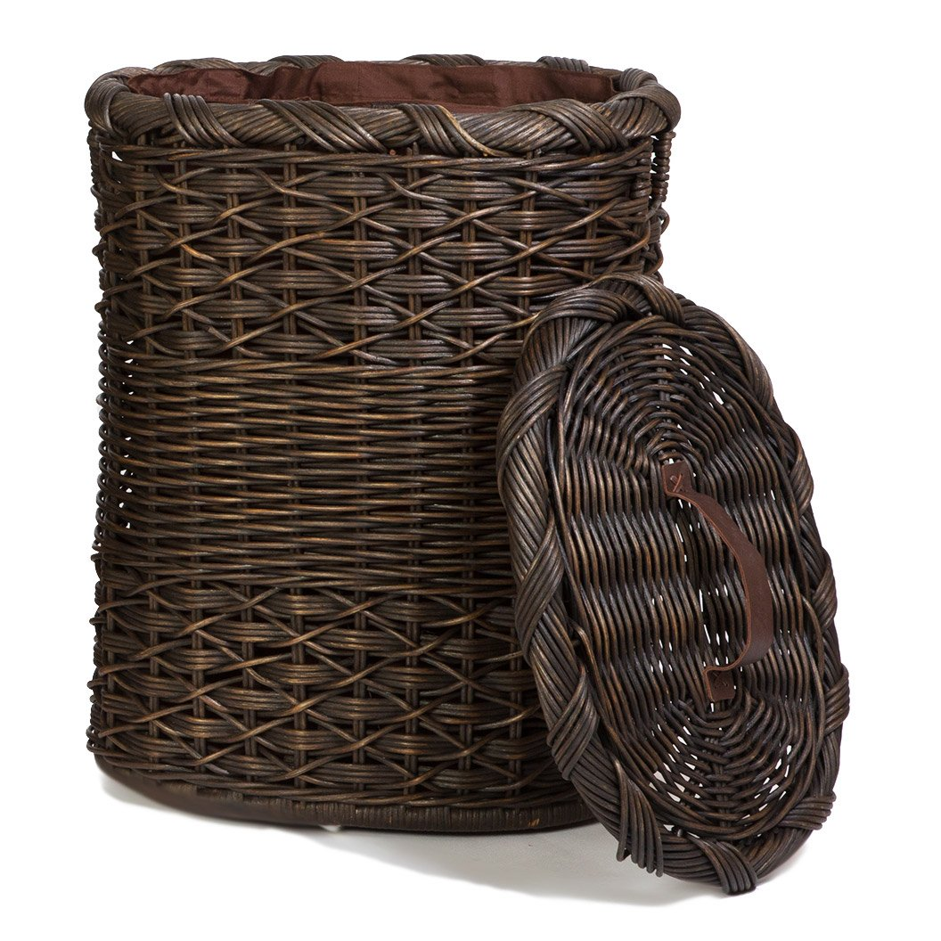 Decorative Oval Wicker Laundry Hamper With Lid