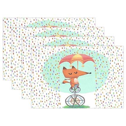 "wozo Funny Fox paraguas manteles individuales alfombrilla de mesa, lunares, 12 ""X"