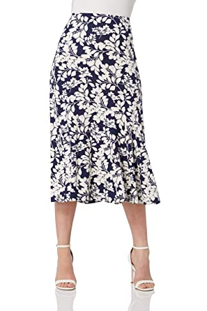 volume large hot-selling newest wholesale Roman Originals Women Floral Print Panelled Swing Casual Midi Skirt -  Ladies Holiday Beach Garden Party Going Out Summer Skirts - Navy Blue